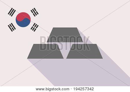 Long Shadow South Korea Flag With Three Gold Bullions