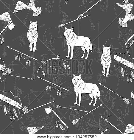Seamless Pattern with American Indian Elements. Hand drawn sketches. Vector Illustration
