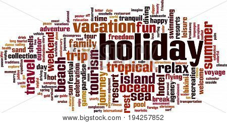 Holiday word cloud concept. Vector illustration on white