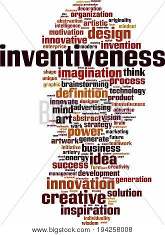 Inventiveness word cloud concept. Vector illustration on white