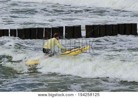 SEACOAST, BALTIC SEA - POLAND: 2017 - Lifeguard during water training