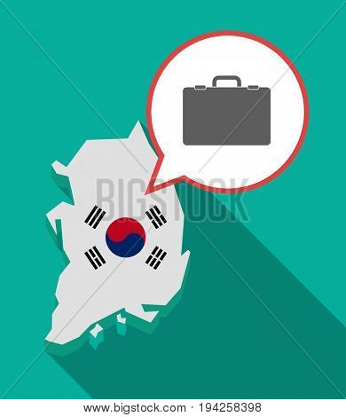 Long Shadow South Korea Map With  A Briefcase