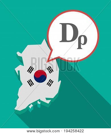 Long Shadow South Korea Map With A Drachma Currency Sign