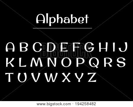 Alphabet letters. Alphabet white letters on a black background. English Set alphabet calligraphy, lettering vector illustration.