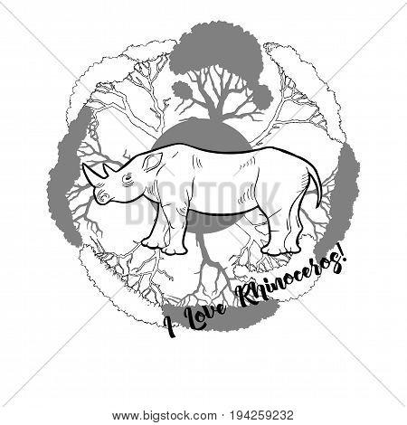 Rhinoceros and savanna trees print. Hand drawn sketches. Vector Illustration