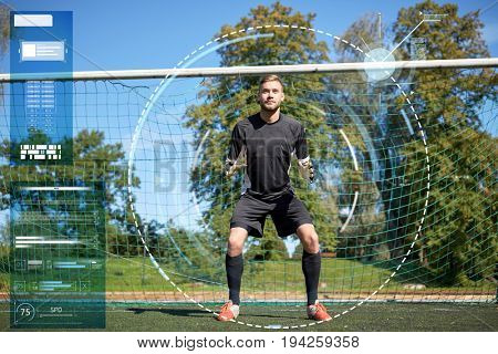 sport strategy, technology and people - soccer player or goalkeeper at football goal on field