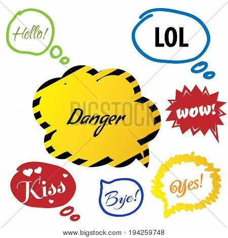 Vector illustration - Hand drawn speech bubble. Set with text - hello, lol danger, wow kiss, bye, yes. Speech bubble colorful set.