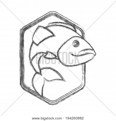 blurred sketch silhouette of diamond shape emblem with largemouth bass fish vector illustration