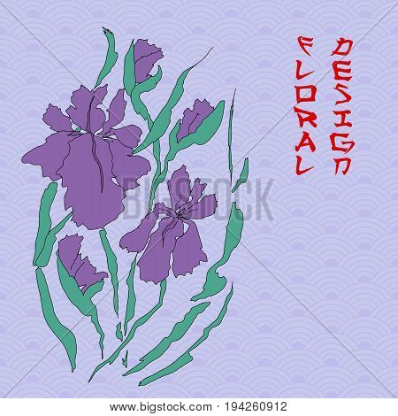 Vector iris. Hand-drawing illustration. Background with a traditional Asian pattern from of stylized waves or fan