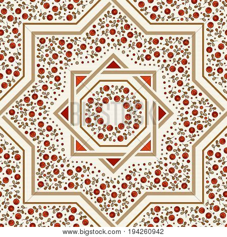 Patterned floor tile. Moroccan pattern design. Eight-ray star. Seamless vector pattern. Vector illustration. Moorish mosaic in golden and red. Small flowers in octagon star shape.