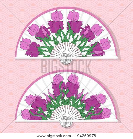 Vector illustration of two Asian folding paper fans. Floral round pattern with hand-drawing irises. Vector illustration
