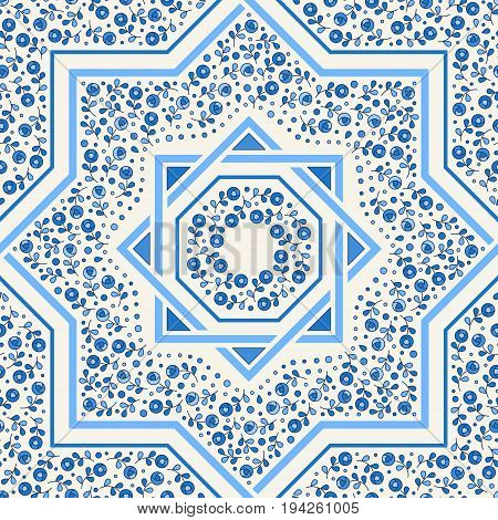 Patterned floor tile. Moroccan pattern design. Eight-ray star. Seamless vector pattern. Vector illustration. Moorish mosaic in blue. Small flowers in octagon star shape.