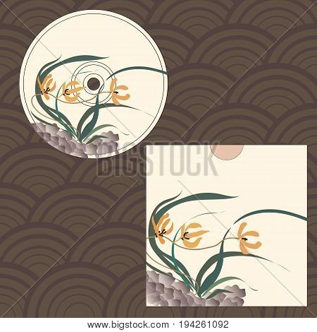 CD cover design. Wild orchid growing on stones. Traditional Chinese painting, Japanese art sumi-e, vector stylization