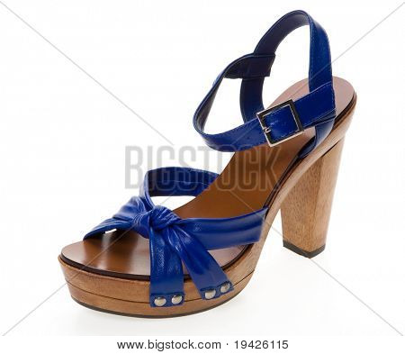 blue woman's shoe isolated