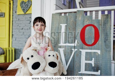 Portrait Of A Cute Girl In A Dress Sitting On Wooden Small Train Holding Fluffy Dog Toys.