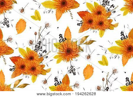 Pattern seamless autumn flowers gerbera sunflower beautiful flower ash leaves berry background wallpaper orange yellow design watercolor style illustration for textile fabric art. Fall floral garden
