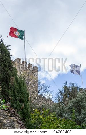 Portuguese Flag At Castelo De Sao Jorge (portugal)