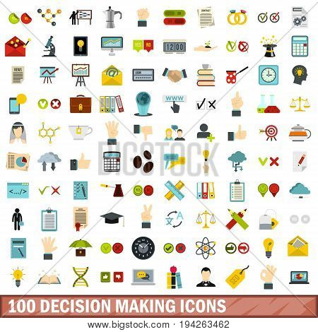 100 decision making icons set in flat style for any design vector illustration
