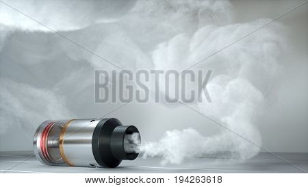 Rebuildable dripping atomizer in vape clouds. 3d illustration