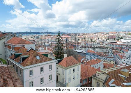 Lisbon From Saint Lawrence Tower At Castelo De Sao Jorge (portugal)