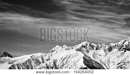 Black And White Panoramic View On Winter Mountains At Sun Winter Day