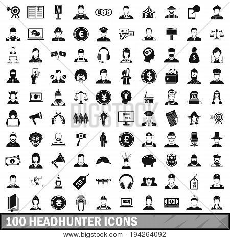 100 headhunter icons set in simple style for any design vector illustration