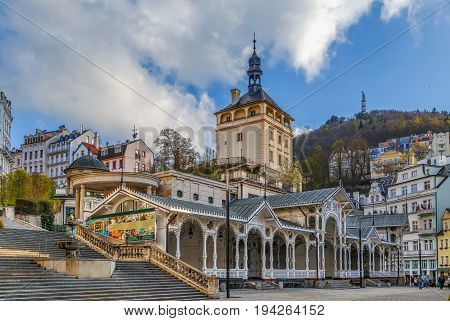 Castle Tower and Market Colonnade in the historical center of Karlovy Vary Czech republic