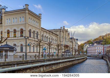 Embankment of Tepla river in Karlovy Vary Czech republic