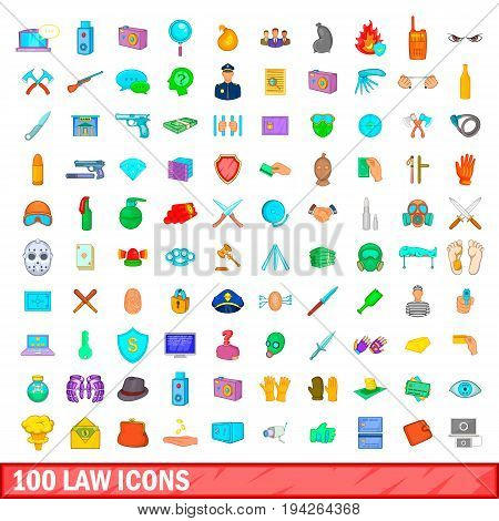 100 law icons set in cartoon style for any design illustration