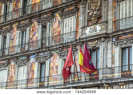 MadridSpain-September 142016: Plaza Mayor colorful facade typical square in Spain