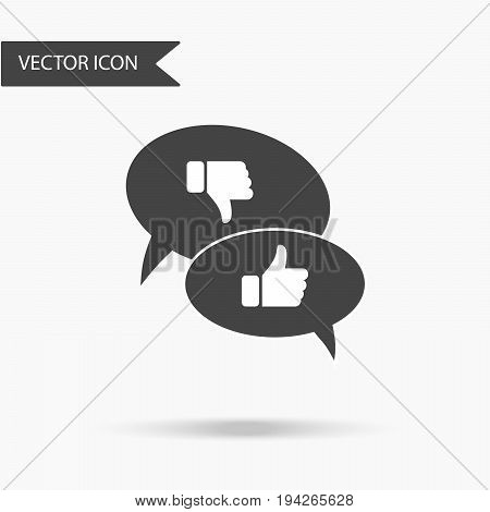 Vector illustration of an icon in the form of two callouts dialog circles with the image of a finger raised up and a thumb lowered on a white background.