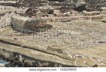 Ruins Of Templo Mayor Of Tenochtitlan. Mexico City.