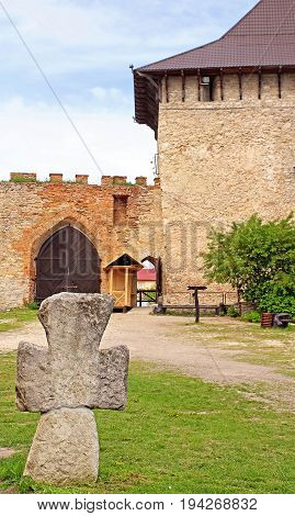 Old Cossack cross in Medzhybizh castle, Ukraine. Medzhybizh Castle was built as a bulwark against Ottoman expansion in the 1540s