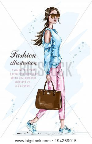 Beautiful fashion woman with bag. Stylish girl in fashion clothes. Summer fashion look. Sketch. Vector illustration.