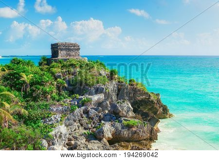 Mayan city Tulum Mexico. Tulum is the site of a pre-Columbian Mayan city serving as a major port for Coba