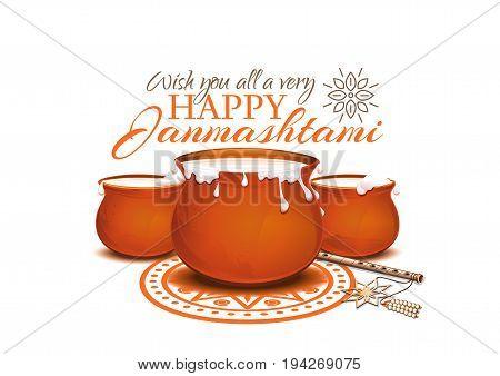 Greeting card for Krishna Janmashtami. Pots of yoghurt and flute. Indian fest. Dahi handi on Janmashtami celebrating birth of Krishna. Vector illustration