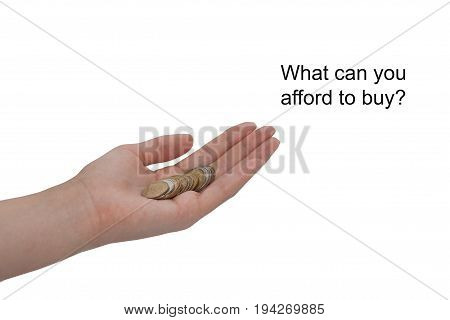 A female hand holds a coin isolated on a white background. The value of money. Inflation. Finance and Money concept. Hope of investor concept