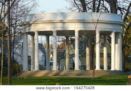 A large gazebo with titanic pillars was erected on the hill overlooking the carousel at Recreation Park Binghamton NY. A plaque in the center reads,