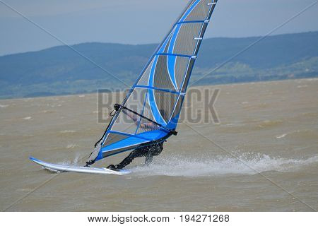 Person at Windsurfing on Lake Neusiedl - Austria