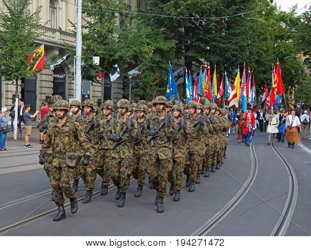 ZURICH - AUGUST 1: Swiss National Day parade on August 1, 2016 in Zurich, Switzerland. Infantry of swiss army taking part in parade