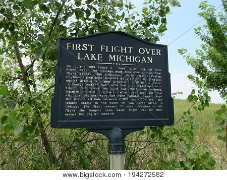 First Flight Historical Marker about 1913 aviation event over Lake Michigan