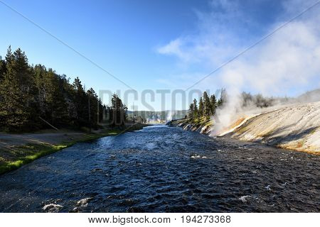 Firehole River through the Midway Geyser Basin in Yellowstone National Park.