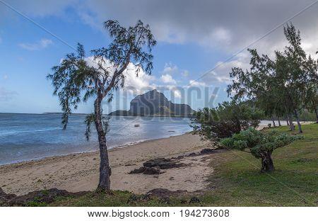 Le Morne Brabant In Mauritius With Sea Panorama