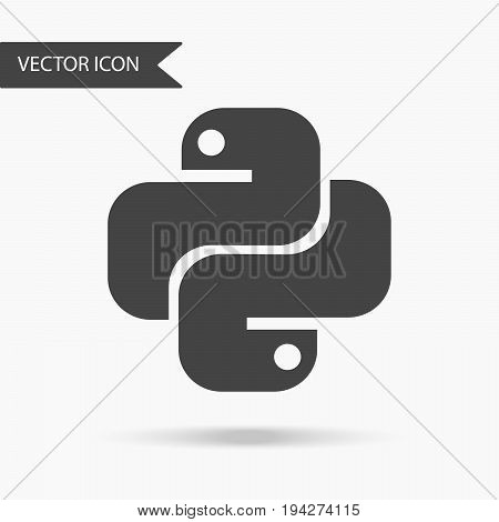 Vector illustration of an icon of the Python programming language. Logo in the form of two snakes. Flat icon on white background