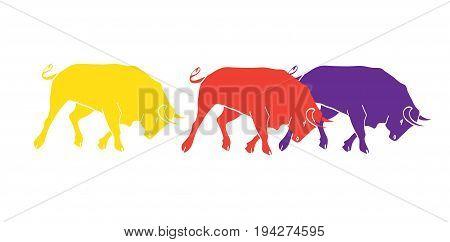 Abstract border. Fiesta or Festival Spain decoration. Bulls running vector illustration