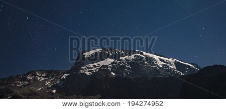 Kilimanjaro view under the stars at night