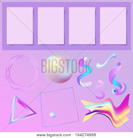 set of 3D abstract memphys elements and four sheets of paper with a shadow to your design creation booklet, poster and magazine page, vector illustration collection