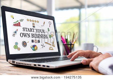 Start Your Own Business Concept With Various Hand Drawn Doodle Icons On Laptop Screen