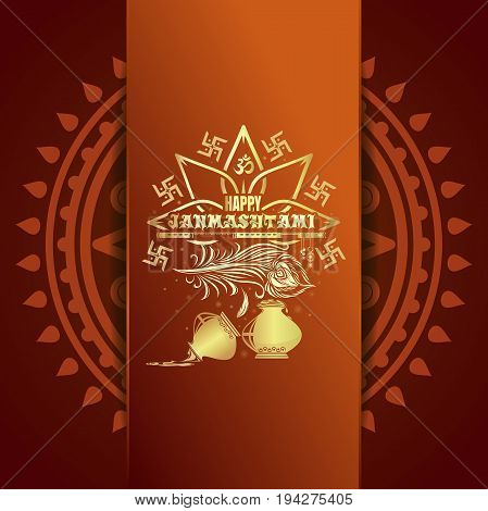 Happy Krishna Janmashtami gold logo icon. Greeting card for annual celebration of the birth of the Hindu deity Krishna. Vector illustration
