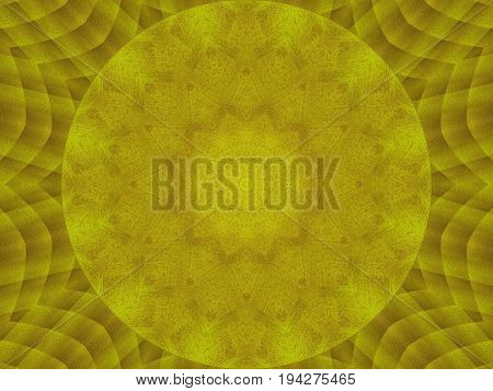 Golden metal texture kaleidoscope pattern abstract round background. Abstract kaleidoscope texture background. Metal kaleidoscope fractal pattern geometrical golden ornament. Painted wooden surface